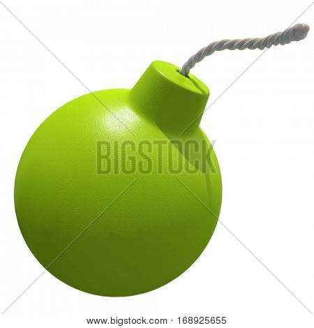 3D rendering of a blue bomb on a white background