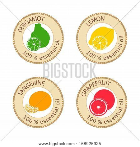 Set of flat essential oil labels. Bergamot, lemon, grapefruit, tangerine. Logo collection. Vector illustration. Brown stamps, bright silhouettes. For stickers tag aromatherapy cosmetics banners