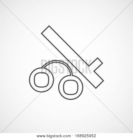 Vector flat stylize police baton and handcuffs icon. Isolated line icon for logo web site design button app UI.