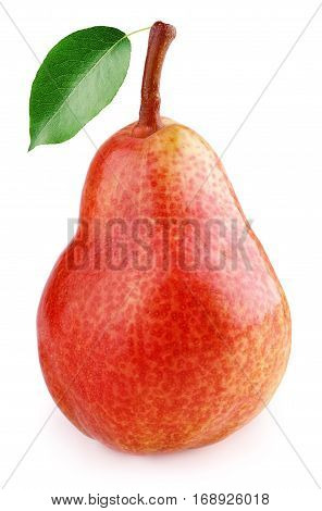 Ripe Red Pear Fruits With Green Leaf Isolated On White