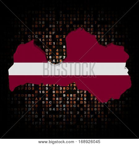 Latvia map flag on hex code 3d illustration