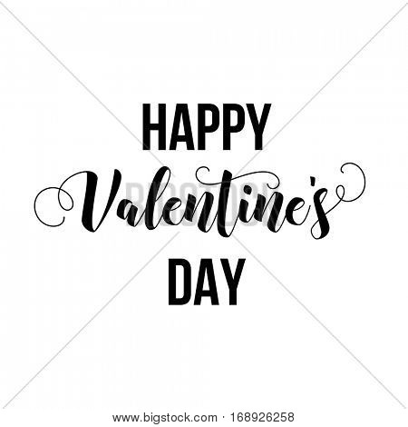 Happy Valentines Day modern calligraphy lettering. Vector illustration for greeting cards, typographic design isolated on white background.