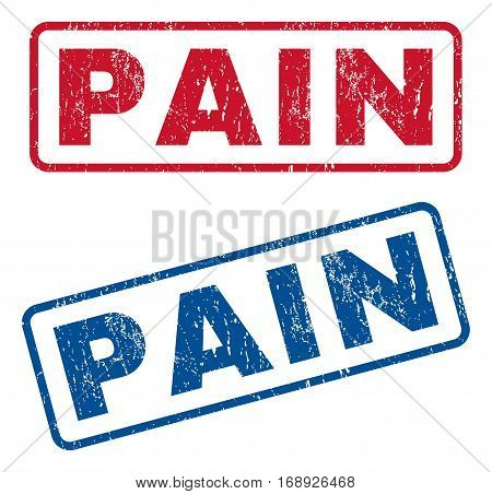 Pain text rubber seal stamp watermarks. Vector style is blue and red ink tag inside rounded rectangular banner. Grunge design and scratched texture. Blue and red stickers.