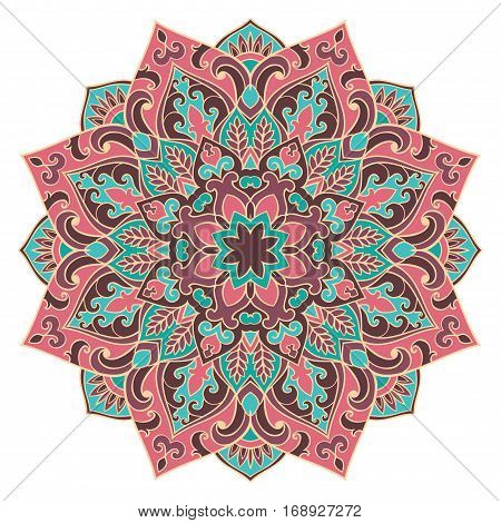 Vector pink and blue mandala. Oriental stylized design element. Symbolic color ornament.