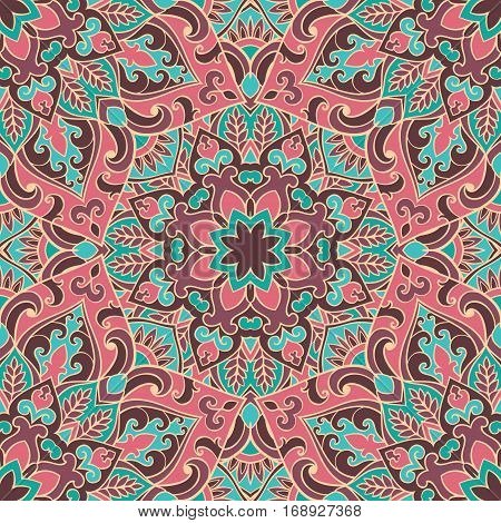 Seamless pink and blue pattern of mandala. Colorful oriental ornament. Template for carpet shawl wallpaper embroidery textile.