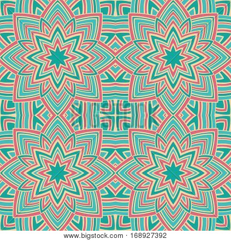Pattern of colorful stars. Abstract pink and turquoise background. Oriental ornament. Template for carpet textile shawl.