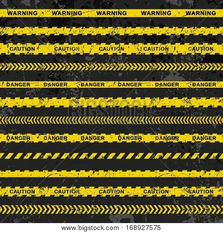 Grunge vector set of seamless caution tapes on dark background. Illustration consists of