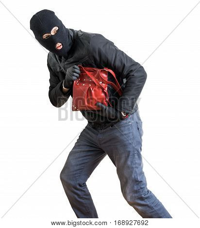 Thief Is Running With Stolen Red Handbag. Isolated On White Back