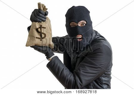 Happy Robber Is Showing Stolen Bag Full Of Money. Isolated On Wh
