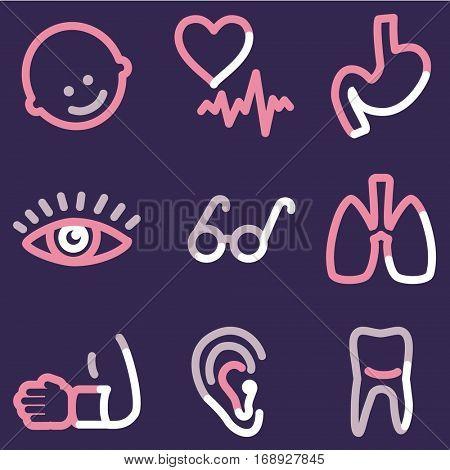 Medicine icons set 2, colour contour series
