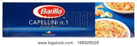Top View Of Barilla Capellini N.1 Italian Pasta Isolated On White Background