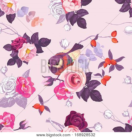 Floral seamless pattern with colorfull bunches of roses and cute little bird on background. Vector illustration in retro style for wallpaper, textile print, wrapping paper