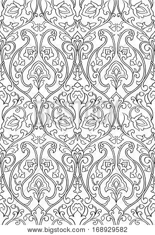 Black and white floral pattern. Seamless filigree ornament. Stylized template for wallpaper textile shawl tile carpet and any surface. Pattern with stylized birds.