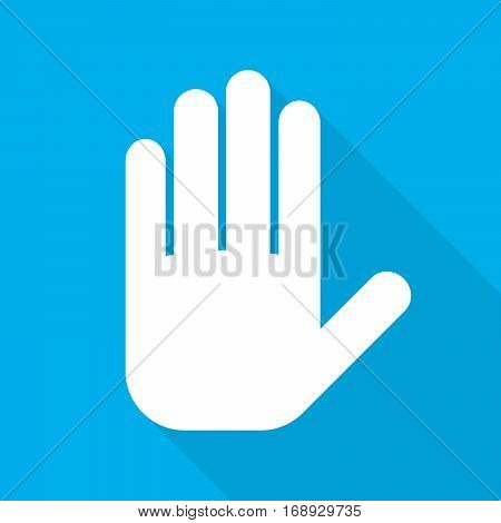 Palm of the human hand sign. White palm of hand icon with long shadow on blue background. Vector illustration.