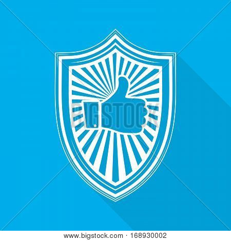 White shield with like hand icon on blue background. Shield icon in flat style with long shadow. Vector illustration