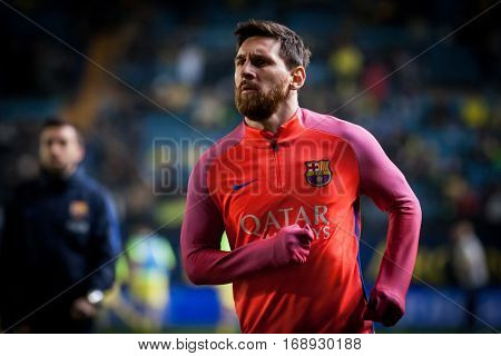 VILLARREAL, SPAIN - JANUARY 8: Leo Messi during La Liga soccer match between Villarreal CF and FC Barcelona at Estadio de la Ceramica on January 8, 2016 in Villarreal, Spain