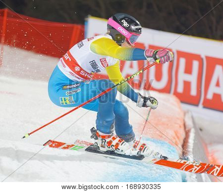 STOCKHOLM SWEDEN - JAN 31 2017: Frida Hansdotter (SWE) jumping in the parallel slalom downhill skiing at the Alpine Audi FIS Ski World Cup - city event January 31 2017 Stockholm Sweden