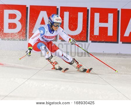 STOCKHOLM SWEDEN - JAN 31 2017: Melanie Meillard (SUI) in the downhill skiing in the parallel slalom alpine event Audi FIS Ski World Cup. January 31 2017 Stockholm Sweden