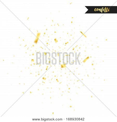 Golden confetti. Holiday shiny confetti isolated on white background. Confetti with motion effect