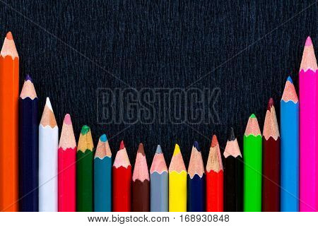 Black Background For Presentation With Round Colourful Bottom Pencils Border