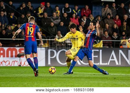 VILLARREAL, SPAIN - JANUARY 8: Pato with ball during La Liga soccer match between Villarreal CF and FC Barcelona at Estadio de la Ceramica on January 8, 2016 in Villarreal, Spain