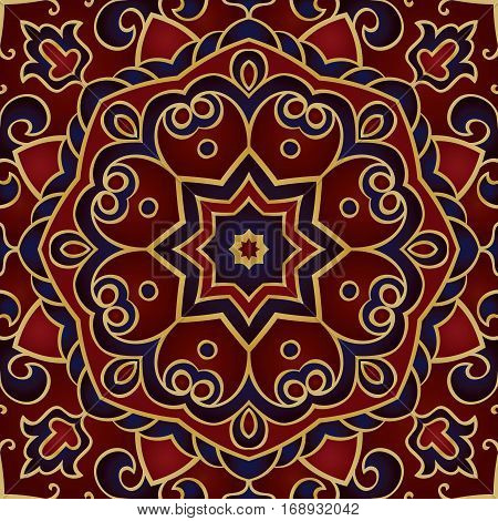 Filigree vector pattern. Oriental blue and red ornament. Template for carpet shawl tile textile.