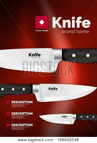 Vector Swiss made knife ad template, steel metallic blade with black handle