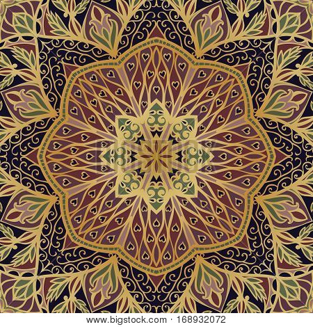 Oriental filigree pattern. Colorful background. Template for textile carpet shawl.