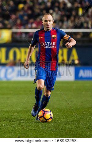 VILLARREAL, SPAIN - JANUARY 8: Iniesta during La Liga soccer match between Villarreal CF and FC Barcelona at Estadio de la Ceramica on January 8, 2016 in Villarreal, Spain