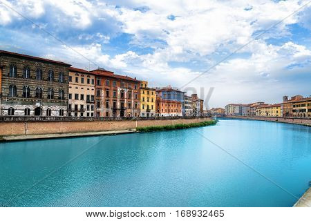 Pisa Arno river Lungarno view. Long Exposure Tuscany Italy Europe poster