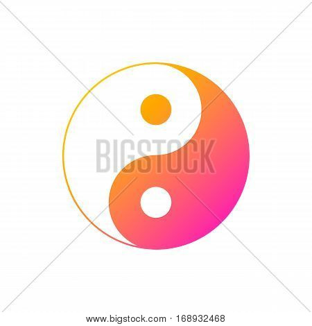Icon of Yin and Yang bright outline on a white background vector image.
