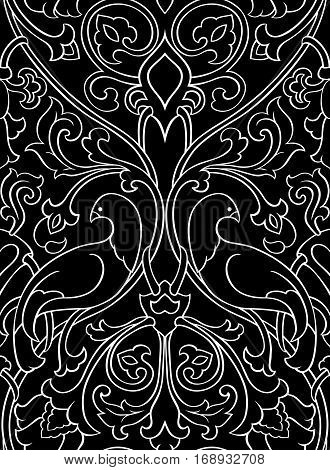 Black and white floral pattern. Seamless filigree ornament. Stylized template for wallpaper textile shawl carpet and any surface. Pattern with birds.