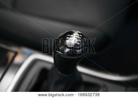 Closeup of car gearbox