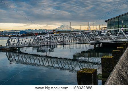 A view of Mount Rainier from a marina in Tacoma Washington.