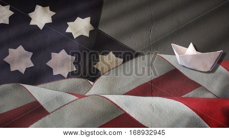 Usa Flag Turbulent Waves and Paper Boat on Plaster