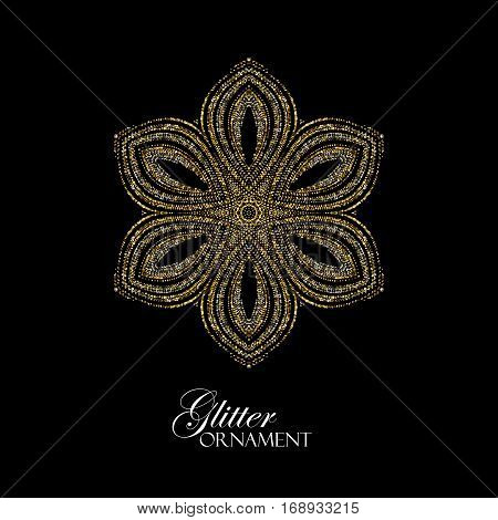Luxury festive ornament with shiny silver and golden glitters. Vector illustration. Vintage glittering ornament. Jewelery pattern. Holiday paillettes decoration. Abstract Christmas snowflake