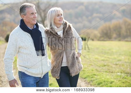 Senior couple walking in countryside on winter day