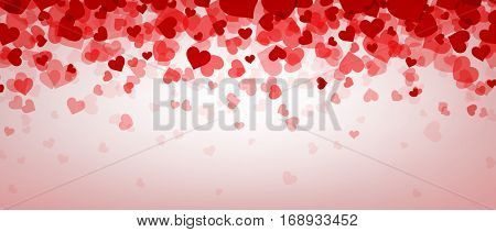 Love pink valentine's banner with hearts. Vector illustration.