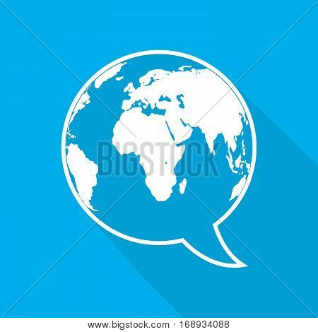 Speech bubble with Earth map. Global chat icon with long shadow on blue background.. World chat sign. Vector illustration.
