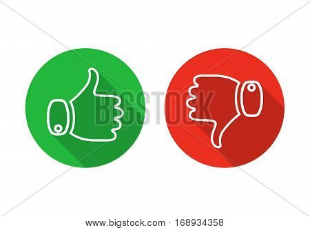 Thumb up icon isolated. Vector illustration. Thumb up and down on a the round buttons in flat design.
