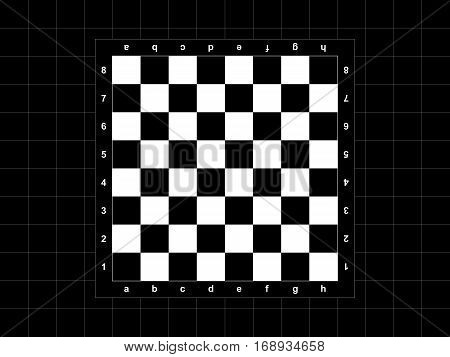 The chessboard on the black checkered background