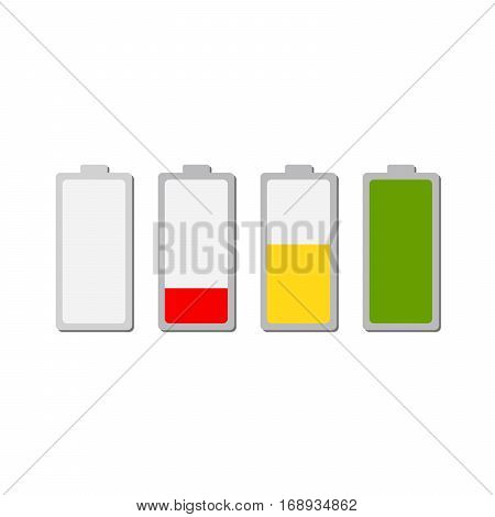 Battery charging icon. Set of color battery icons charge level. Vector illustration. The battery icons with a various level of charge.