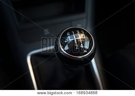 Manual transmission gearshift stick lever; Close-up view