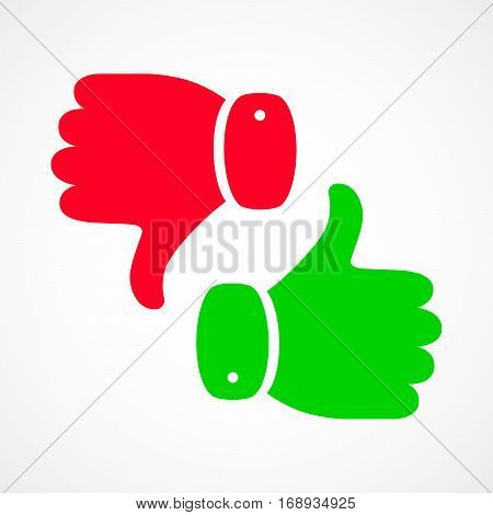 Thumb up icon isolated. Vector illustration. Thumb up and down in flat design.