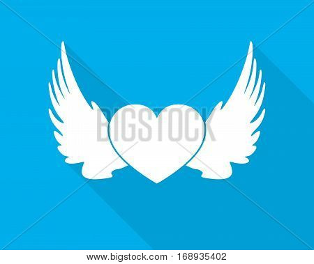 White winged heart icon. Silhouette of winged heart with long shadow on blue background. Vector illustration.