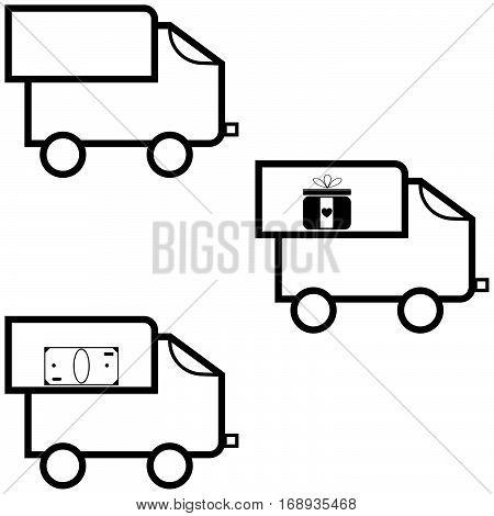 Black lorry three item - icons set.