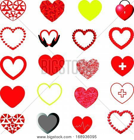 Red yellow violet and grey hearts different shape - set.