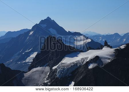 Glacier and mountains seen from mount Titlis Switzerland. Mount Stucklistock and mount Fleckistock.