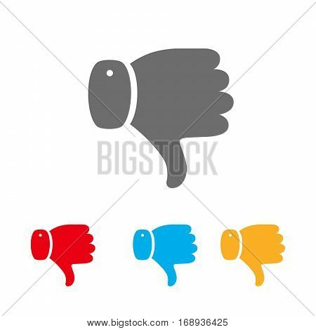 Set of colored thumb down icons. Thumb down symbol isolated. Vector illustration. I dislike concept.