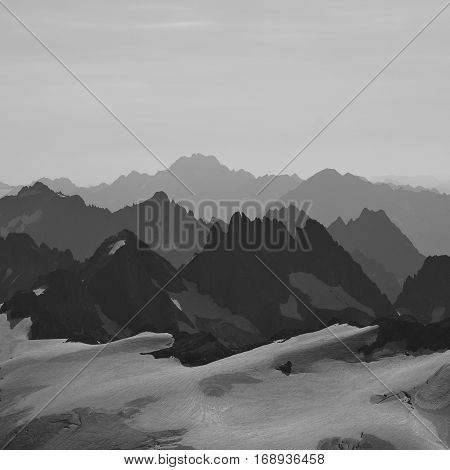 Rugged mountain ranges in Switzerland. Grassengrat Oberalpstock and others. View from mount Titlis.